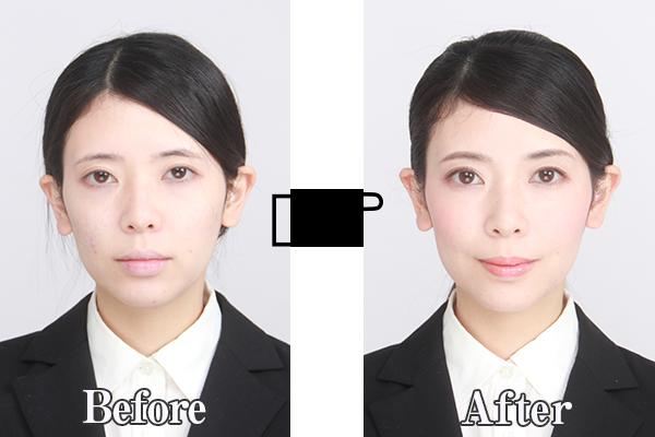 就活写真のヘアメイク付き新宿御苑前スタジオラムズで就活写真を撮影したメイク前とメイク後の違いを表した写真です。